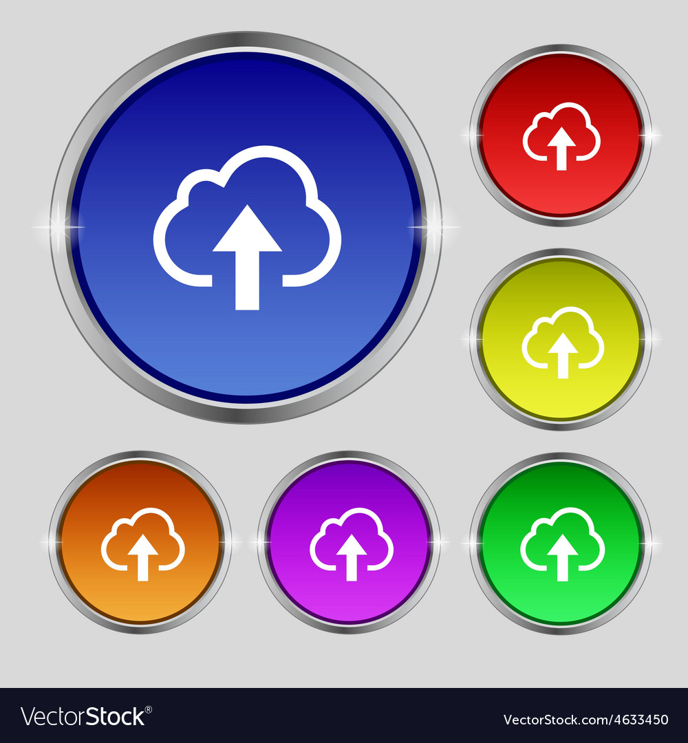Upload from cloud icon sign round symbol on bright vector | Price: 1 Credit (USD $1)