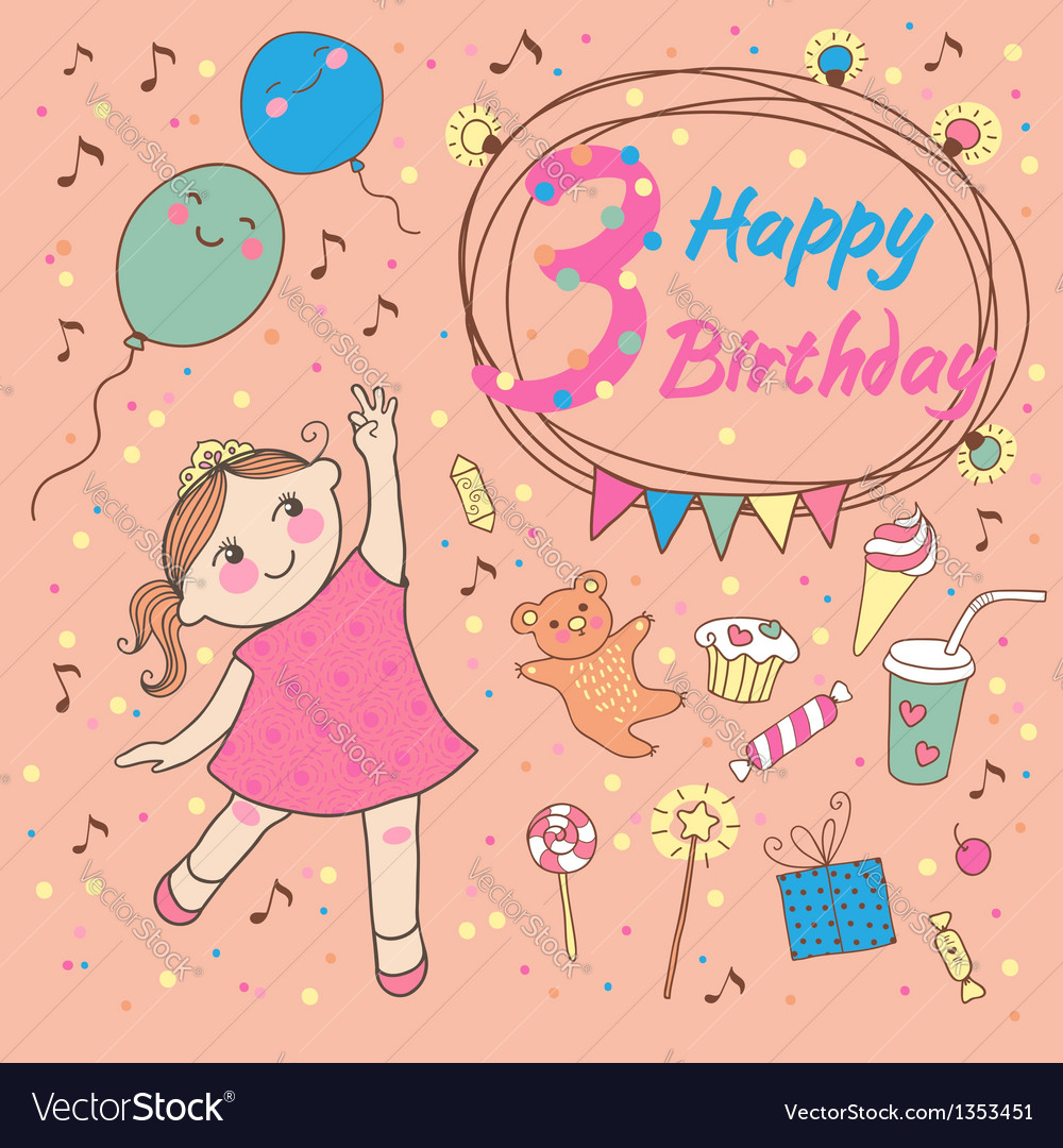 Birthday of the little girl 3 years vector | Price: 3 Credit (USD $3)