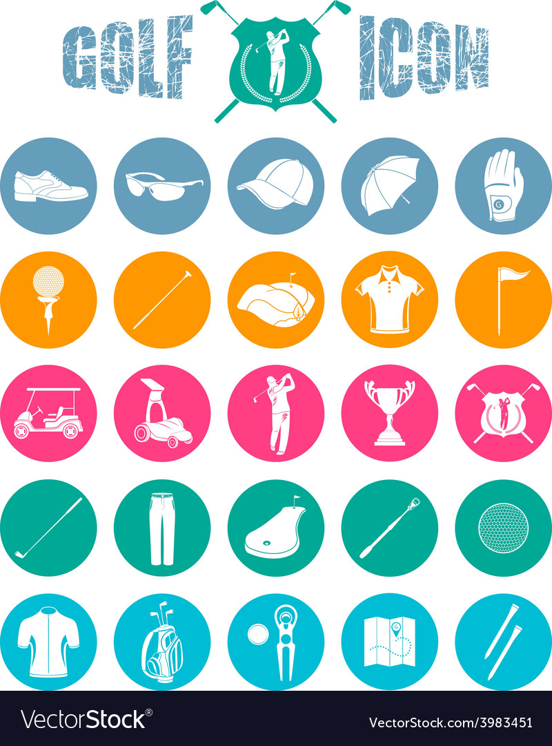 Colorful icons on of golf vector | Price: 1 Credit (USD $1)