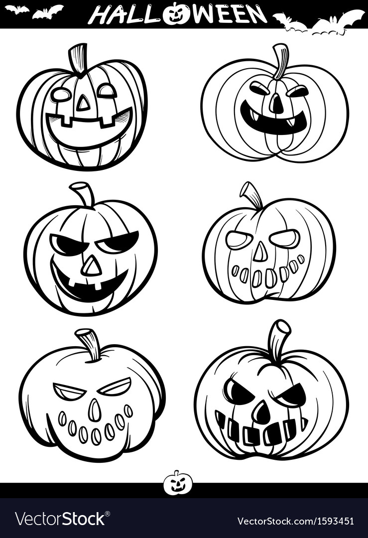 Halloween cartoon themes for coloring book vector | Price: 1 Credit (USD $1)