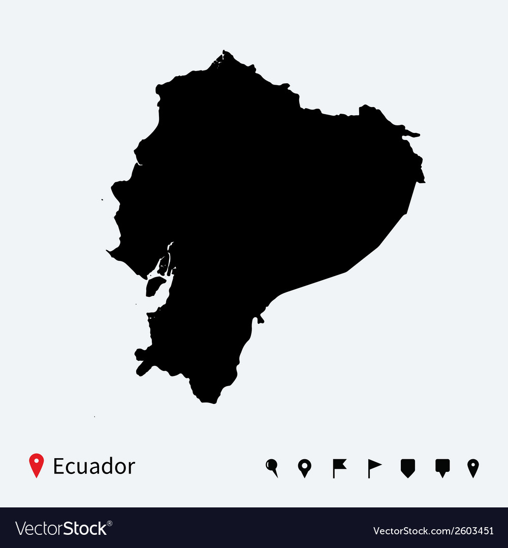 High detailed map of ecuador with navigation pins vector | Price: 1 Credit (USD $1)
