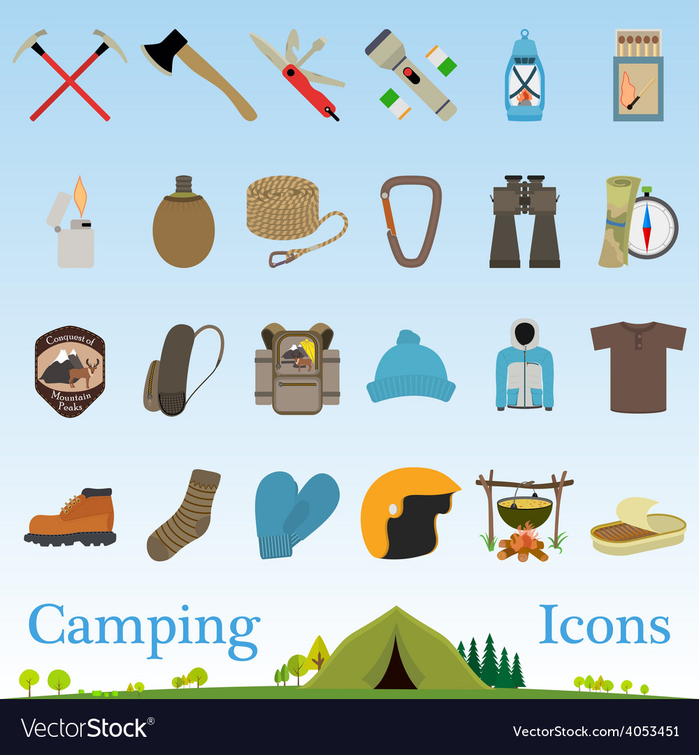 Mountain hiking and climbing icon set vector | Price: 1 Credit (USD $1)