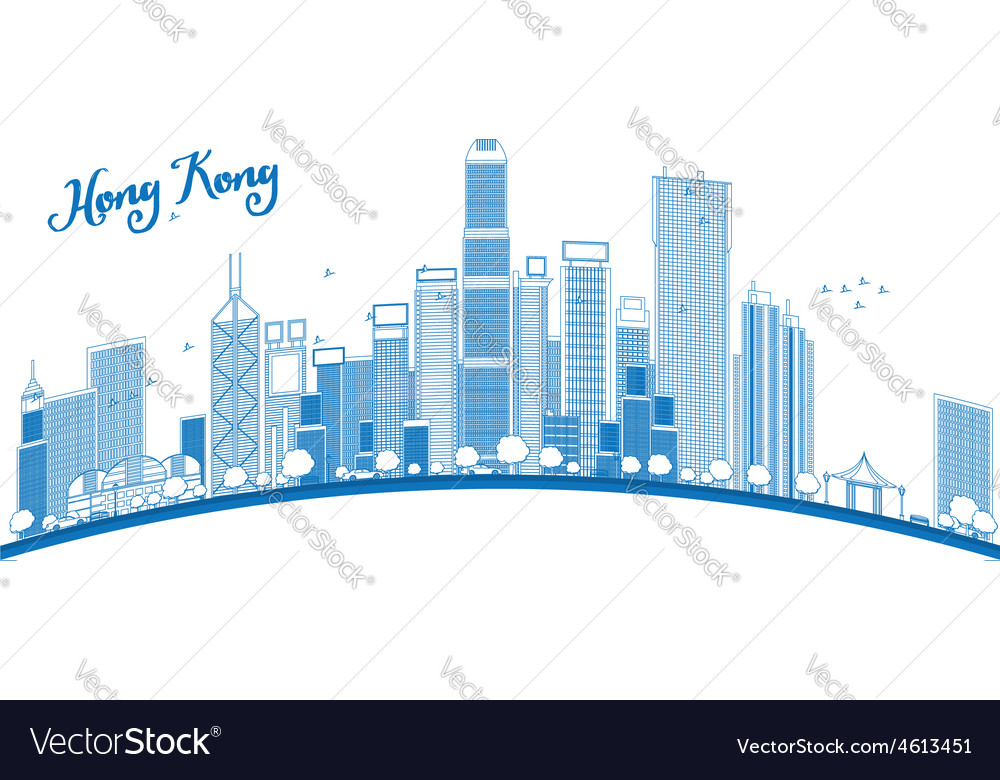 Outline hong kong skyline vector | Price: 1 Credit (USD $1)
