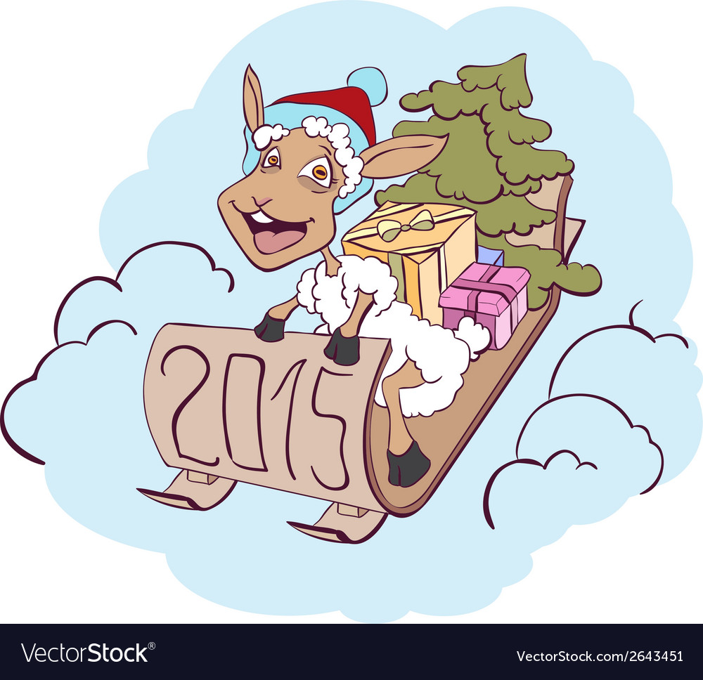 Sheep on a sledge with gifts symbol 2015 vector | Price: 1 Credit (USD $1)