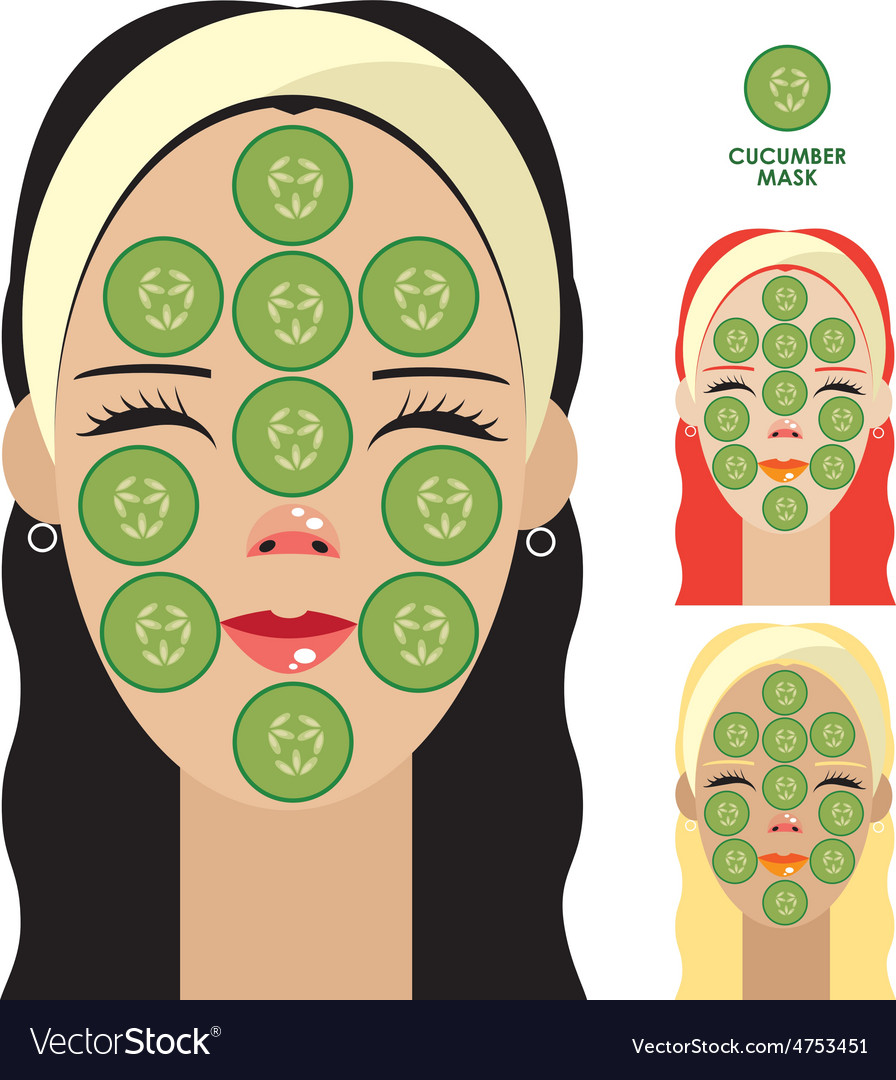 Women with facial mask of cucumber slices vector | Price: 1 Credit (USD $1)