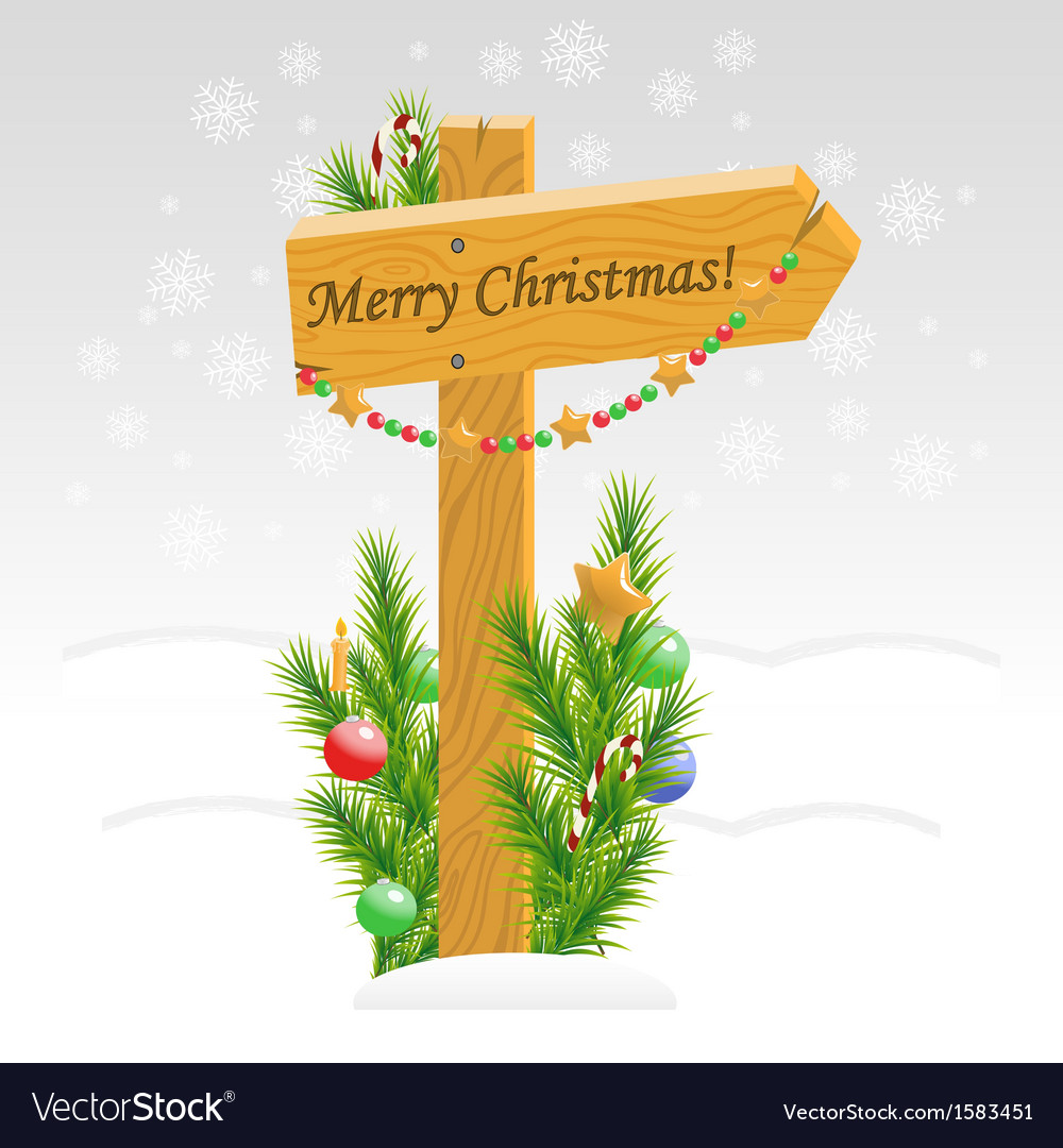 Wooden arrow with christmas toys with text vector | Price: 1 Credit (USD $1)