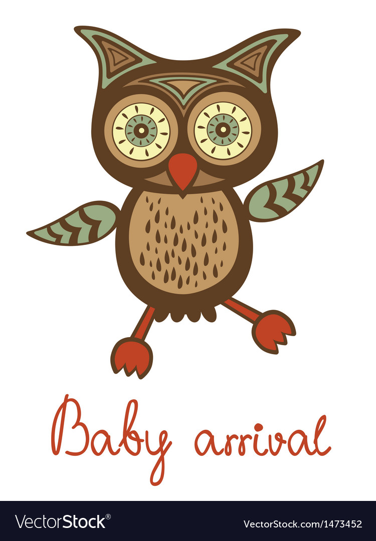 Baby arrival funny owl vector | Price: 1 Credit (USD $1)