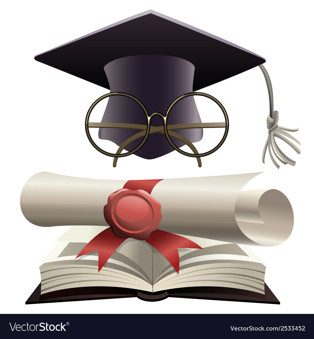 Bachelor hat with glasses and diploma vector | Price: 1 Credit (USD $1)
