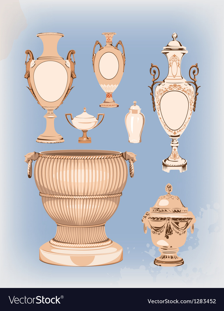 Collection of decorative ceramic vases vector | Price: 3 Credit (USD $3)