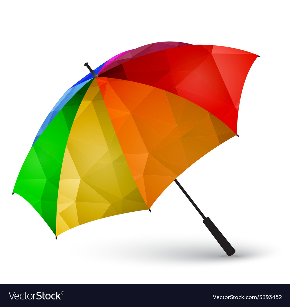 Colored umbrella made of polygonal effect vector | Price: 1 Credit (USD $1)