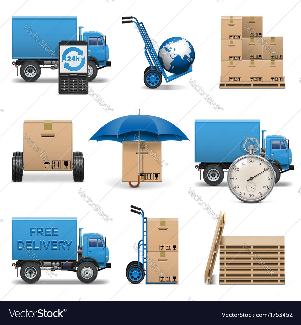Delivery icons set 4 vector | Price: 1 Credit (USD $1)