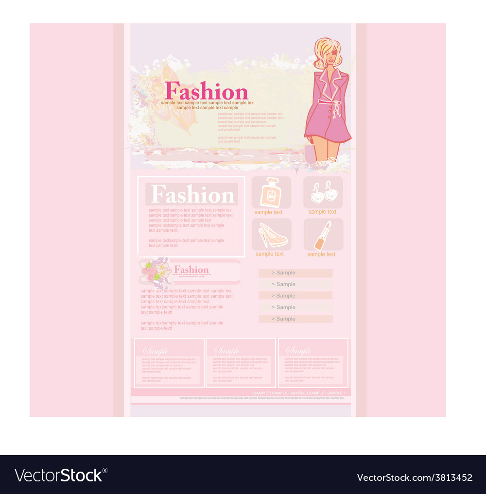 Fashion shopping website template vector | Price: 1 Credit (USD $1)