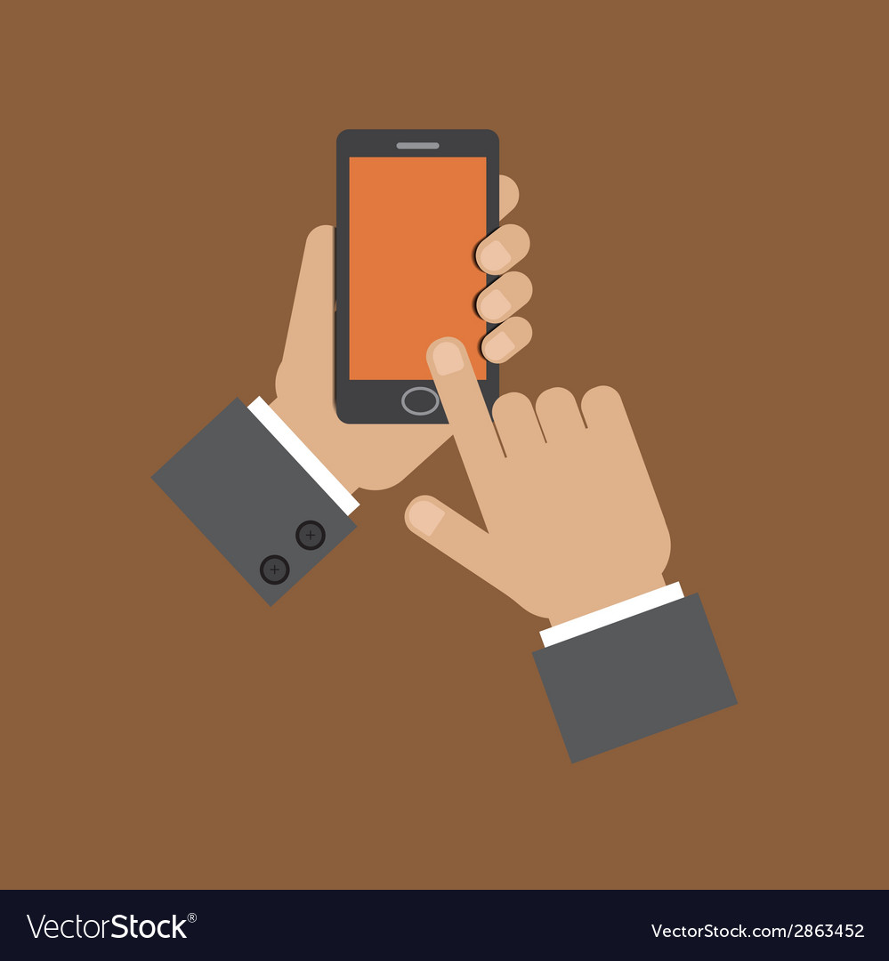 Hand holding smart phone and touching screen vector | Price: 1 Credit (USD $1)