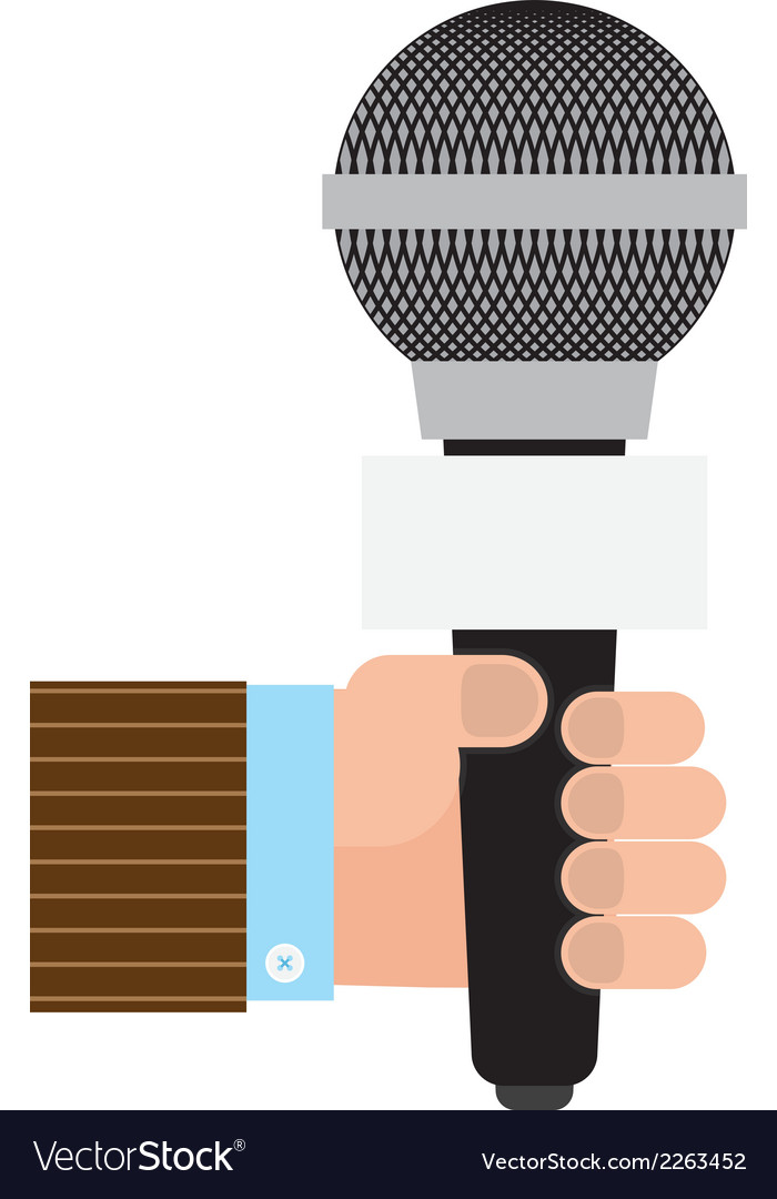 Hand with microphone vector | Price: 1 Credit (USD $1)