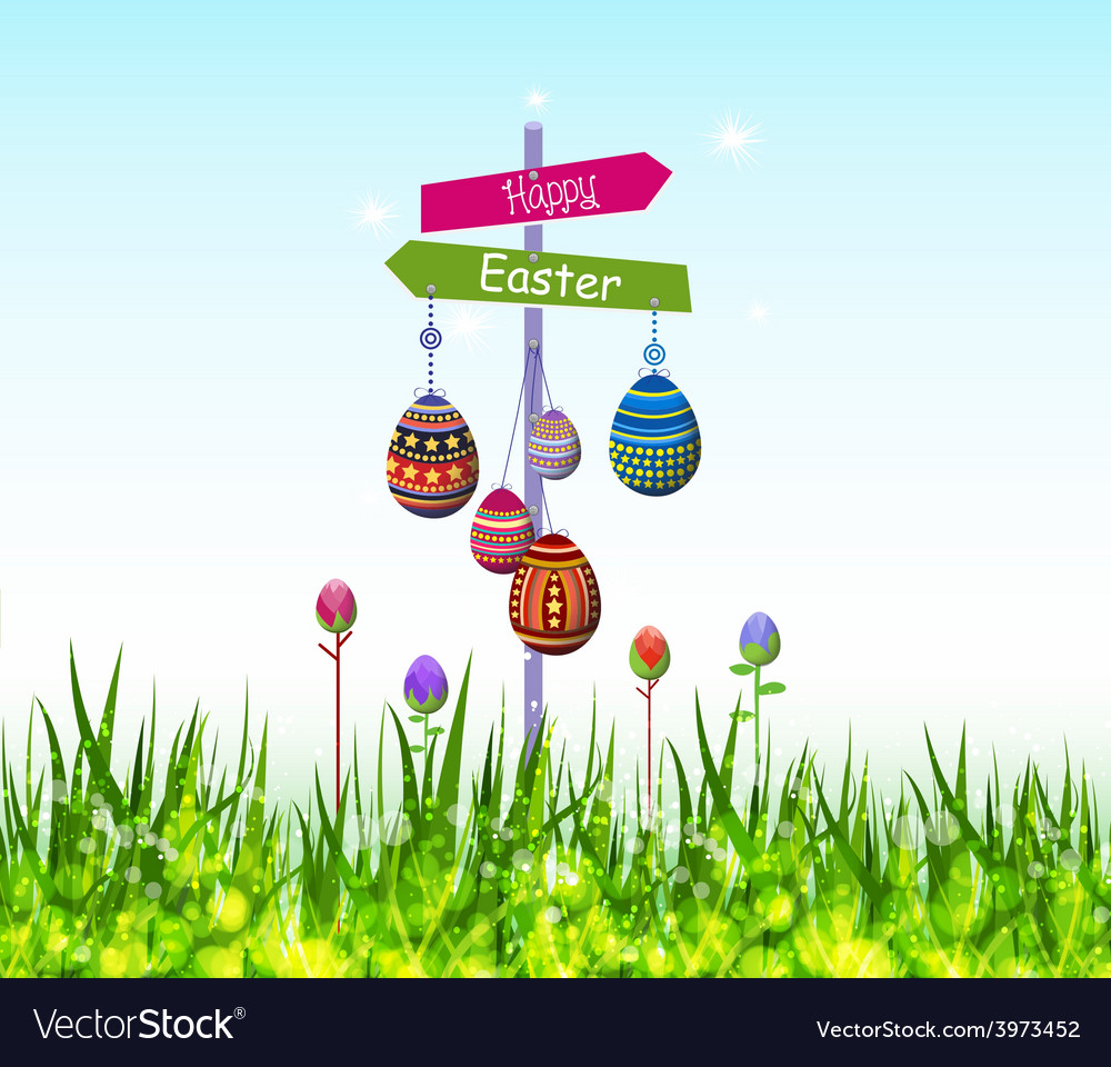 Happy easter eggs hanging on the tree vector | Price: 1 Credit (USD $1)