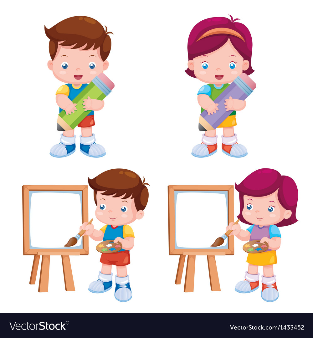 Kids with education object vector | Price: 1 Credit (USD $1)