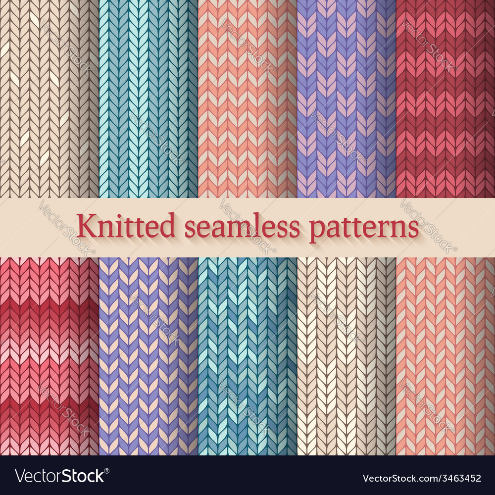 Knitted seamless patterns set vector | Price: 1 Credit (USD $1)