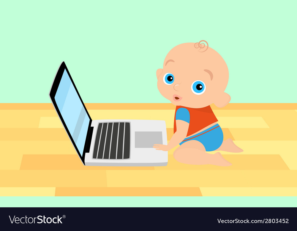 Little boy is playing with laptop vector | Price: 1 Credit (USD $1)