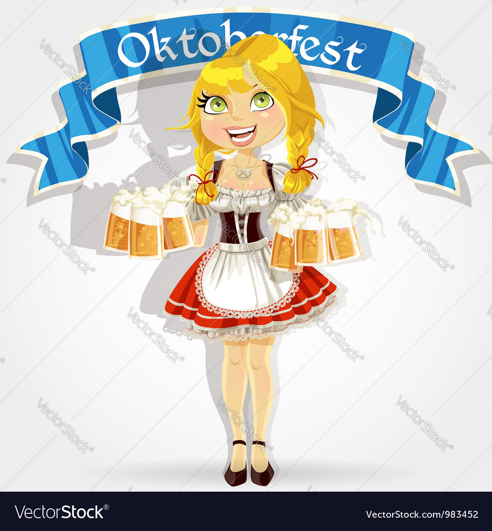 Pretty girl in traditional costume with a beer vector | Price: 3 Credit (USD $3)