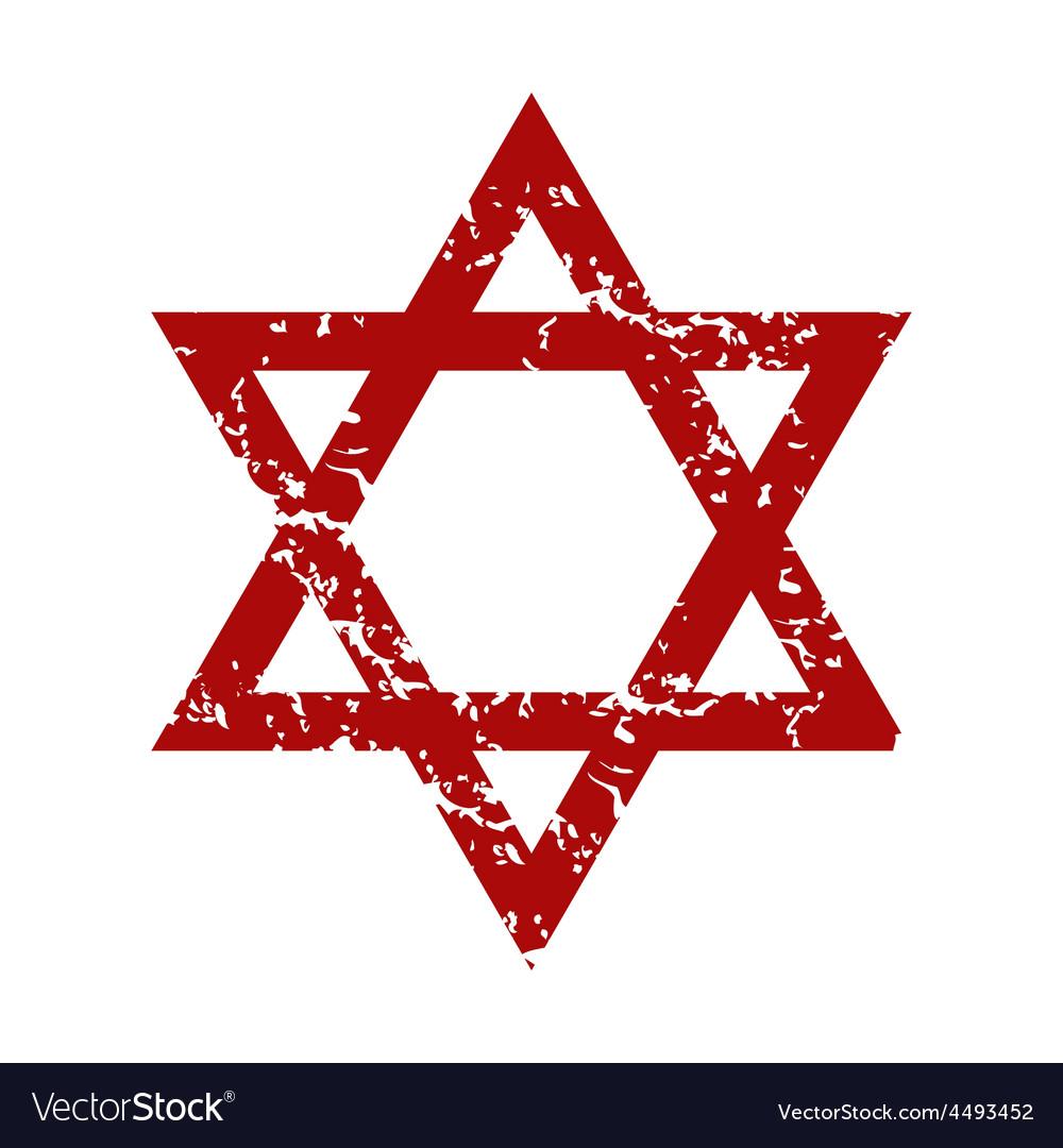 Red grunge judaism logo vector | Price: 1 Credit (USD $1)