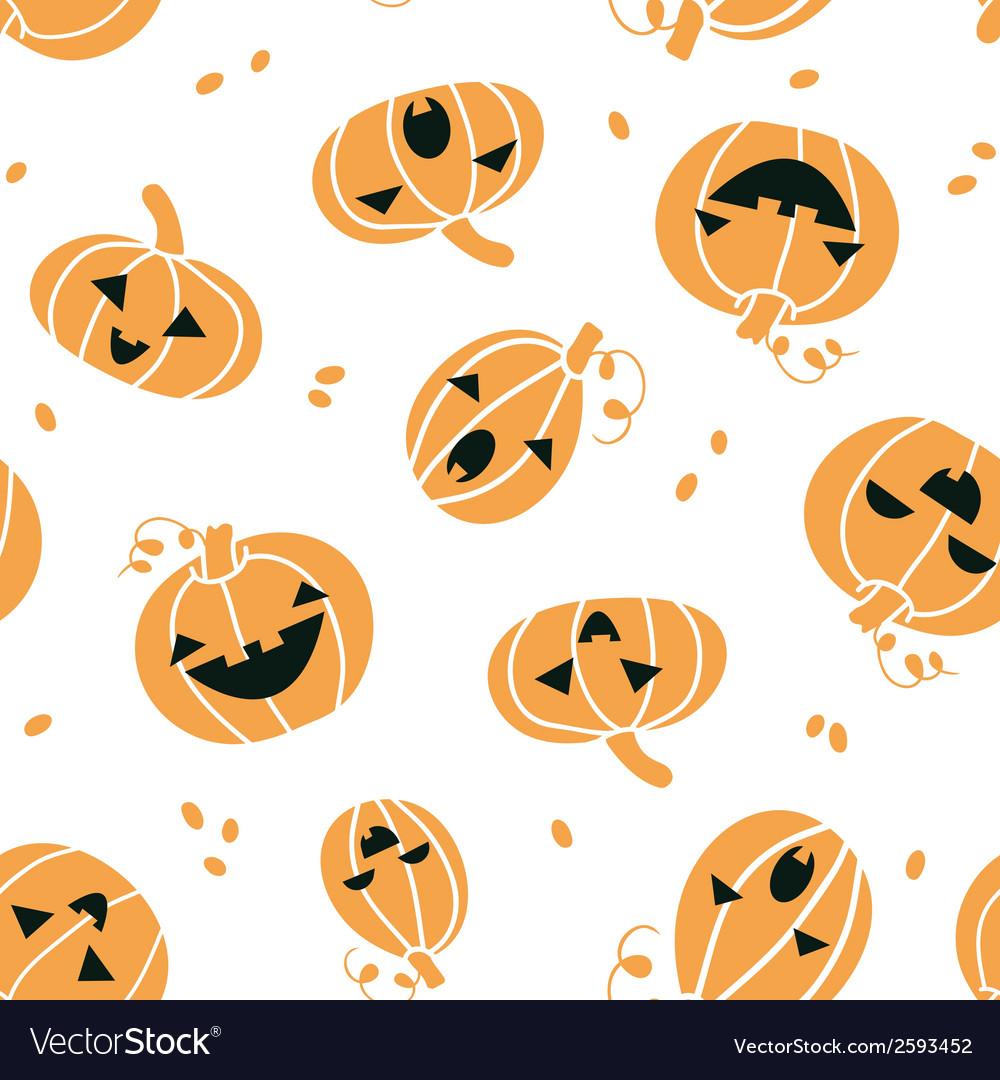 Smiling halloween pumpkins seamless pattern vector | Price: 1 Credit (USD $1)