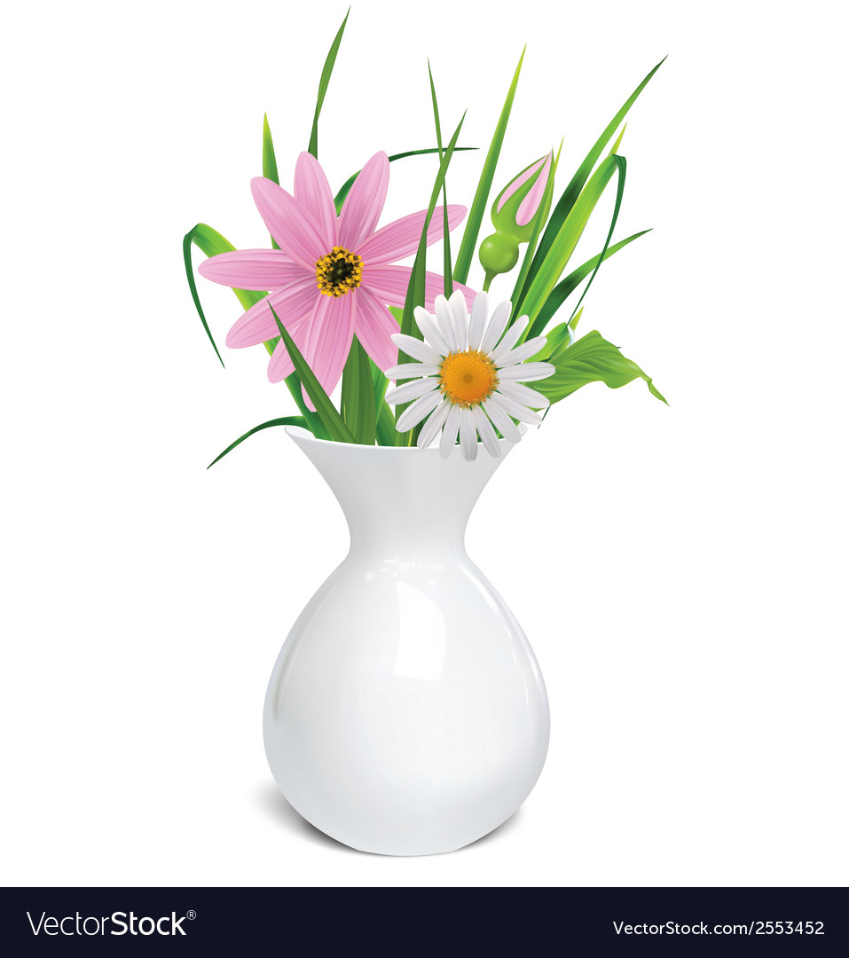 White vase with summer flowers grass and leaf vector | Price: 1 Credit (USD $1)
