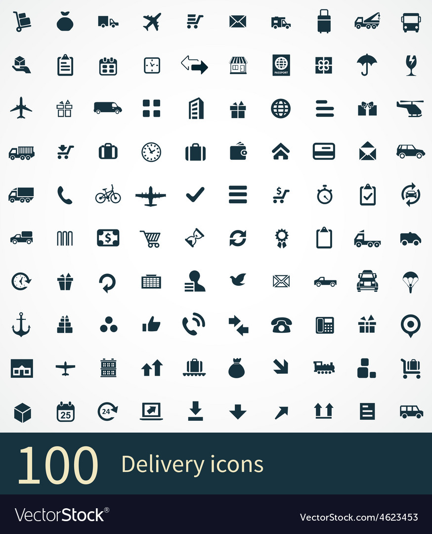 100 delivery icons set vector | Price: 1 Credit (USD $1)