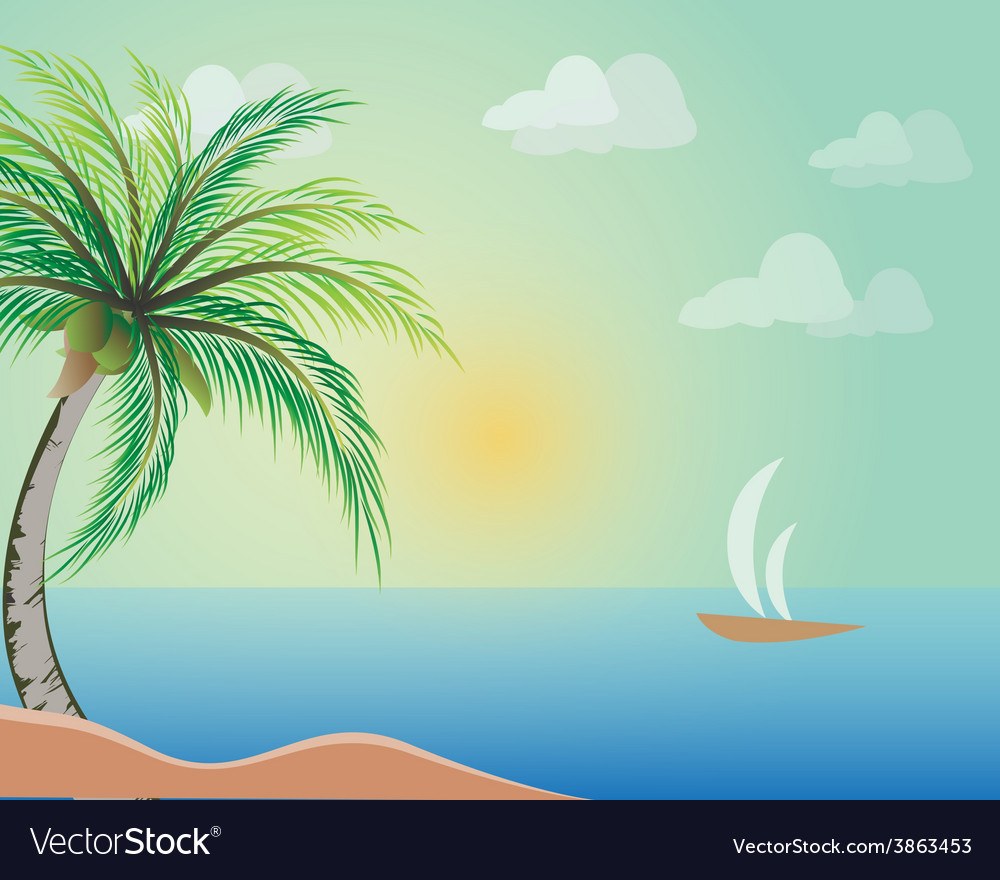 Coconut tree with beach vector | Price: 1 Credit (USD $1)