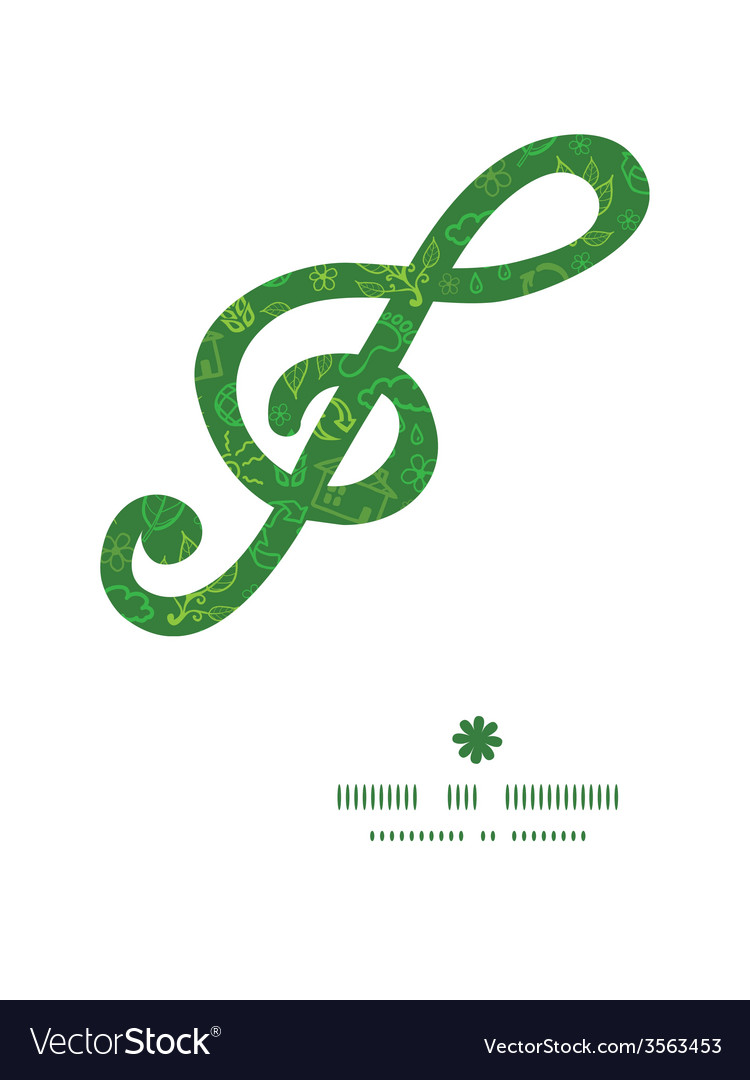 Ecology symbols g clef musical silhouette pattern vector | Price: 1 Credit (USD $1)