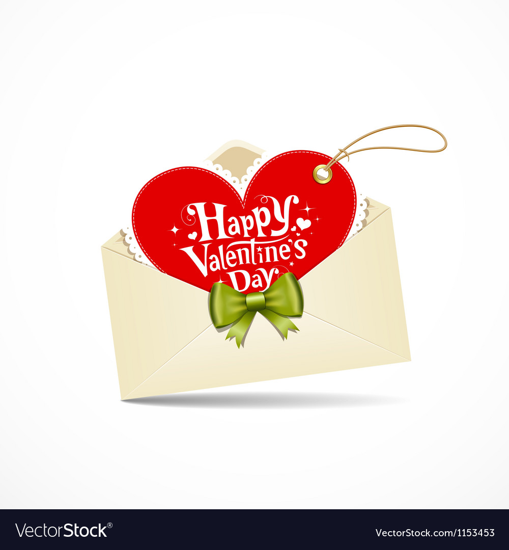 Envelope red heart and green ribbon valentine day vector | Price: 1 Credit (USD $1)
