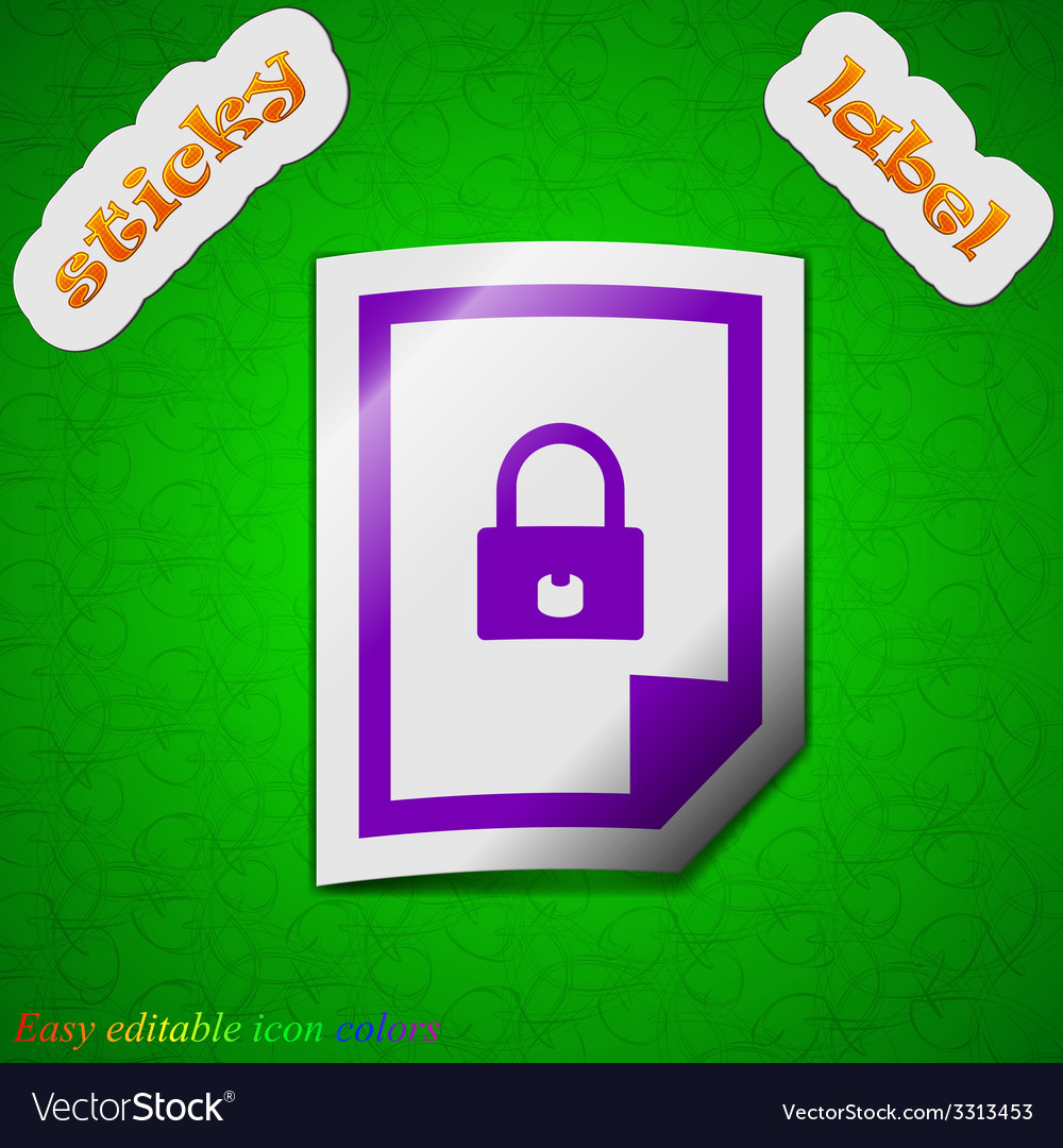 File locked icon sign symbol chic colored sticky vector | Price: 1 Credit (USD $1)