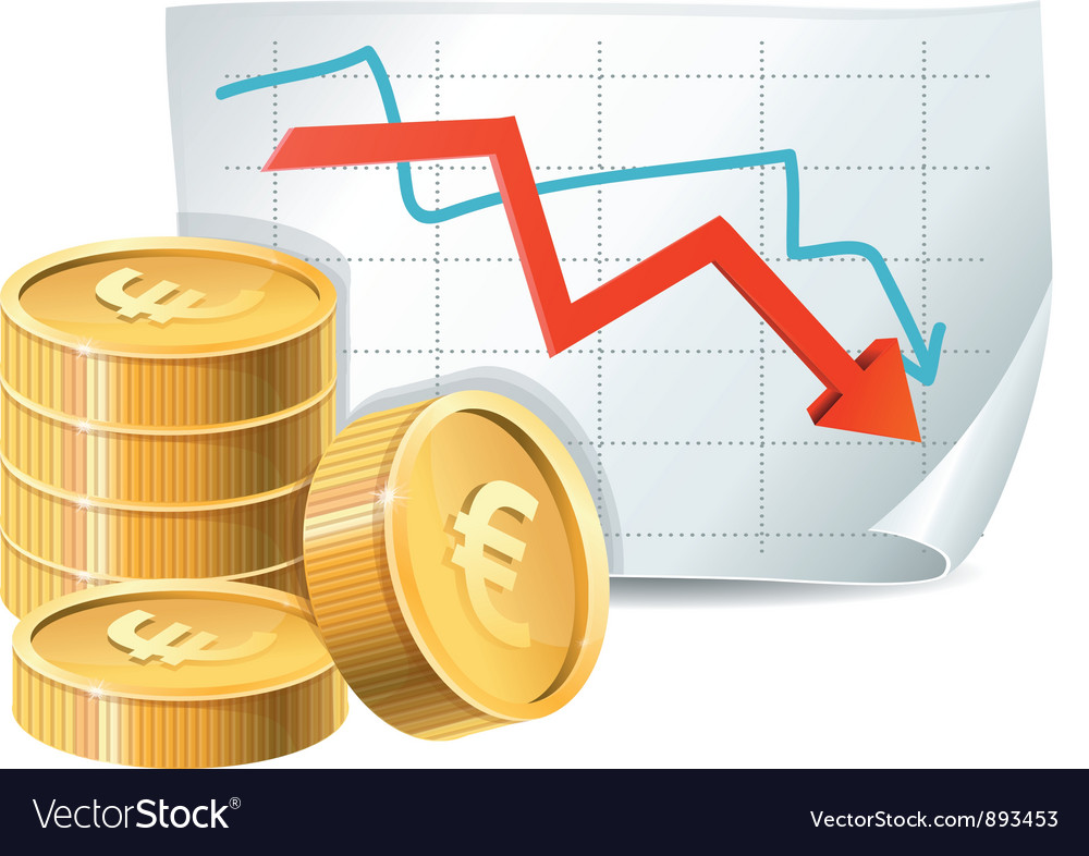 Golden coins and descending graph vector | Price: 3 Credit (USD $3)