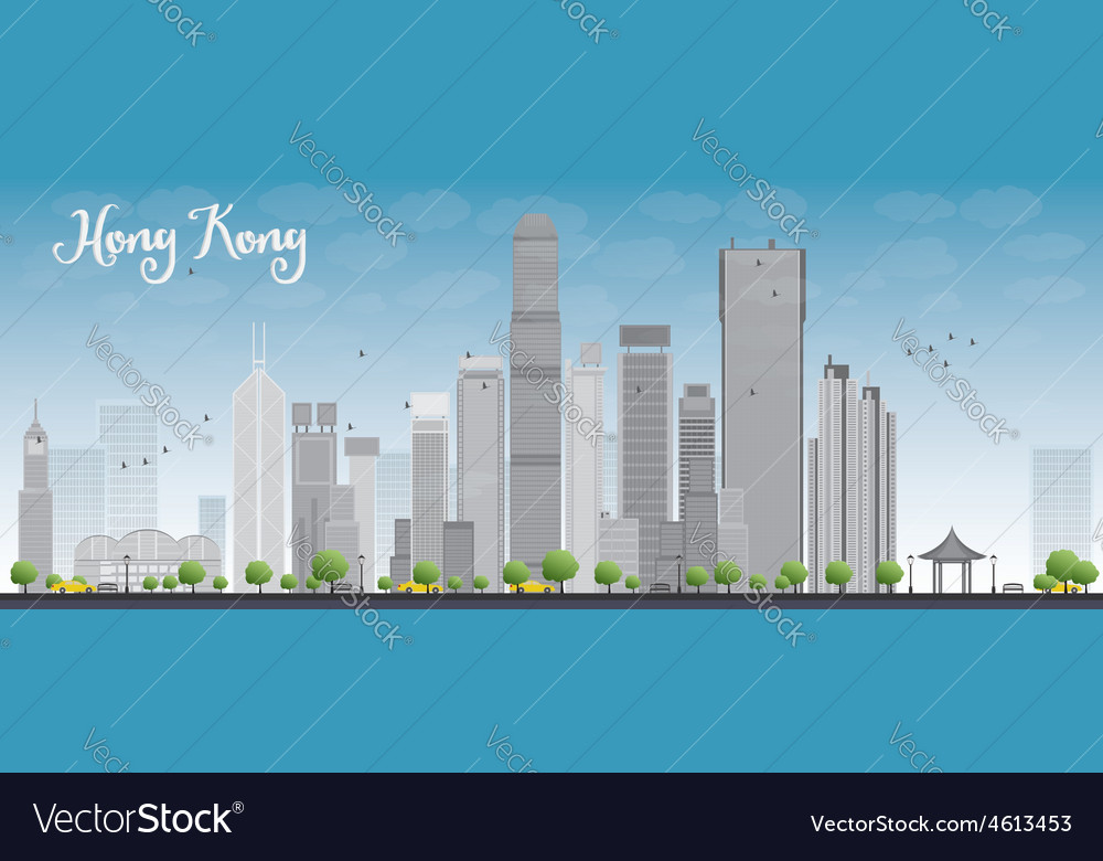 Hong kong skyline with blue sky vector | Price: 1 Credit (USD $1)