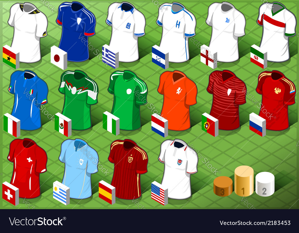 Isometric uniforms set of soccer world cup vector | Price: 1 Credit (USD $1)