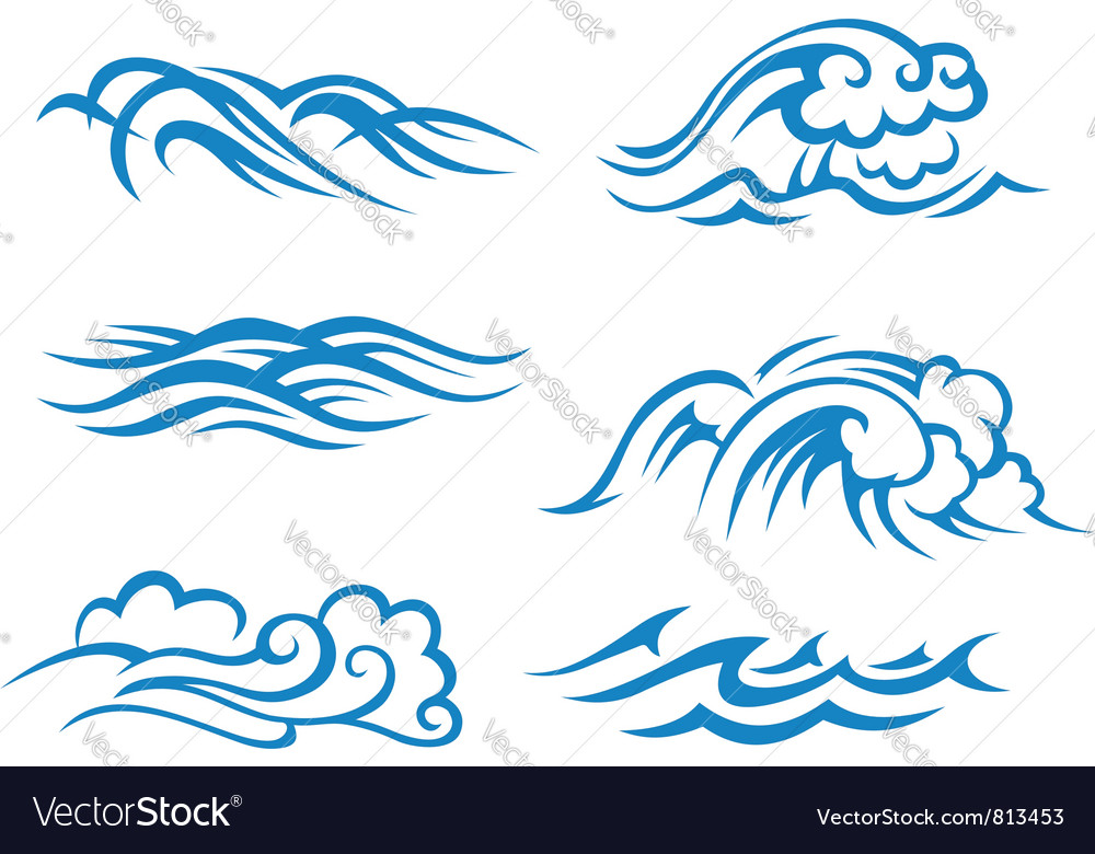 Sea and ocean waves vector | Price: 1 Credit (USD $1)