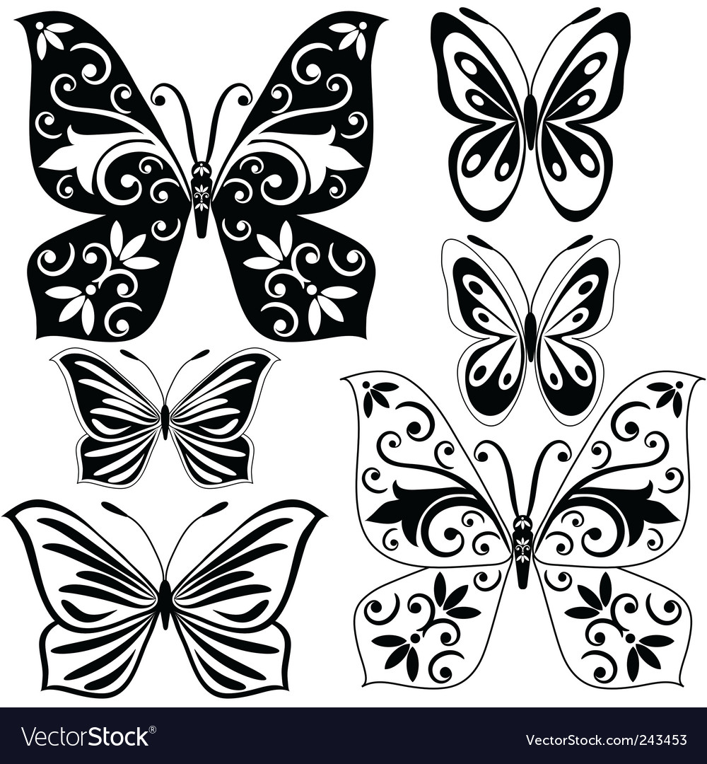 Set black and white butterflies vector | Price: 1 Credit (USD $1)