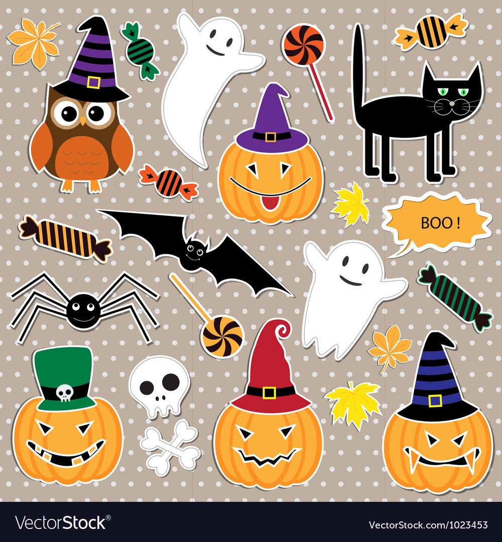 Set of halloween stickers vector | Price: 1 Credit (USD $1)