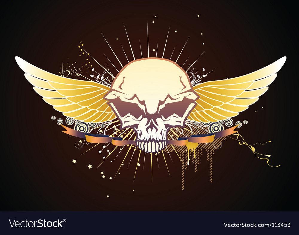 Skull winged emblem vector | Price: 1 Credit (USD $1)