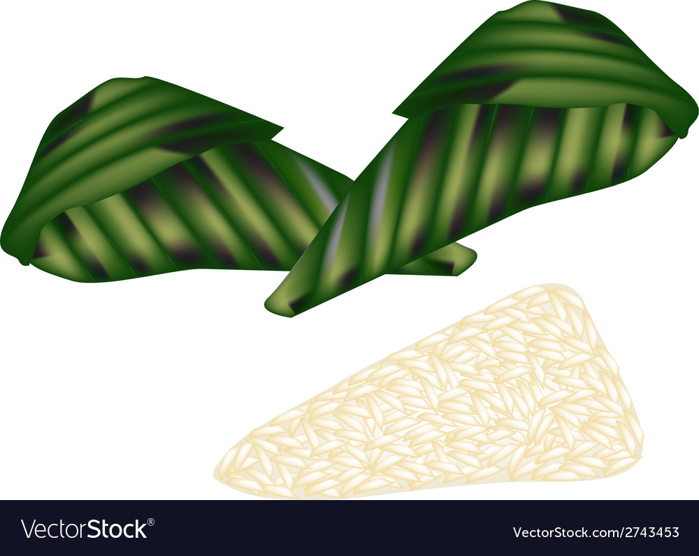 Thai roasted sticky rice with ripe banana vector | Price: 1 Credit (USD $1)