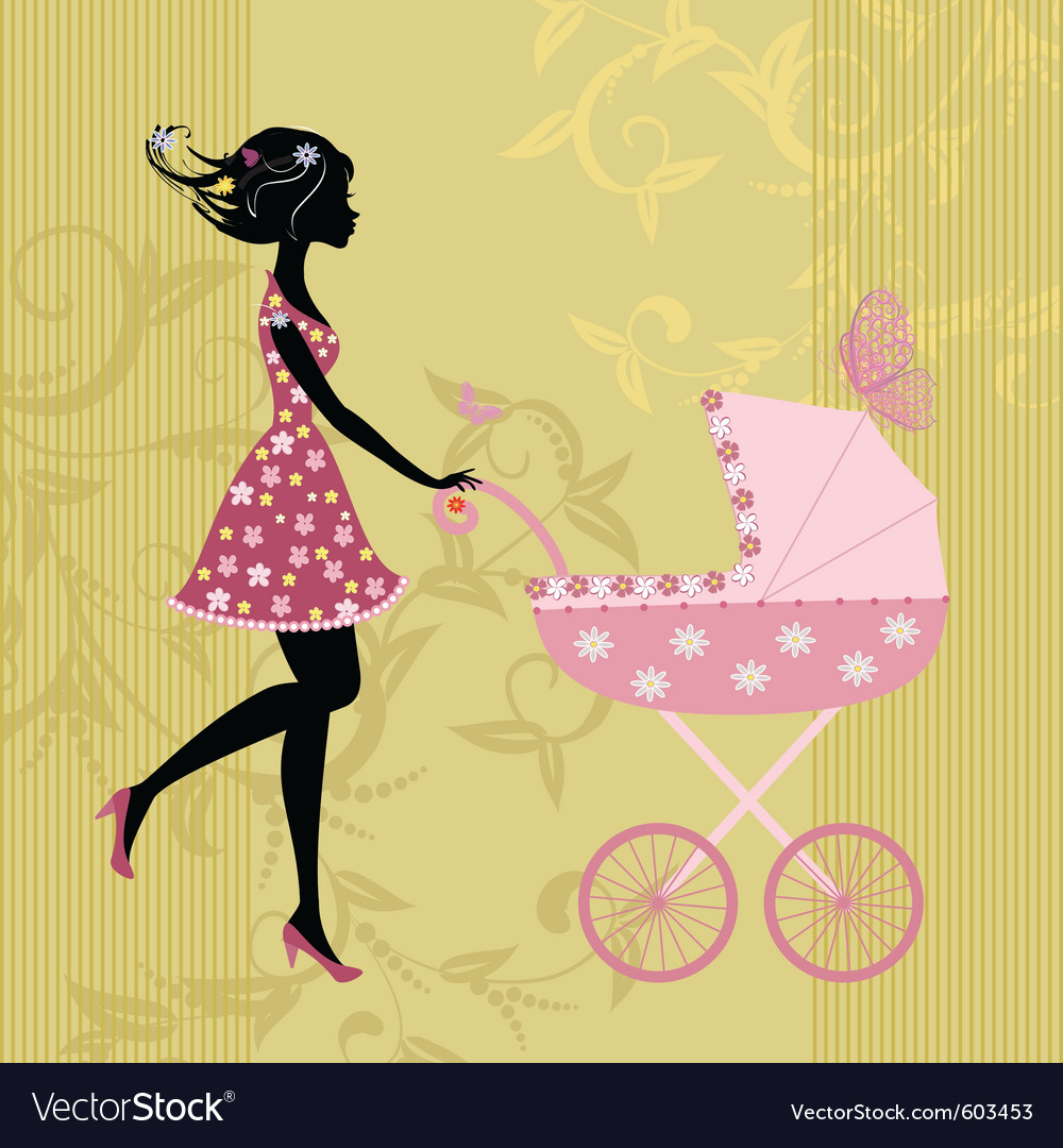 Young mother with a stroller vector | Price: 1 Credit (USD $1)