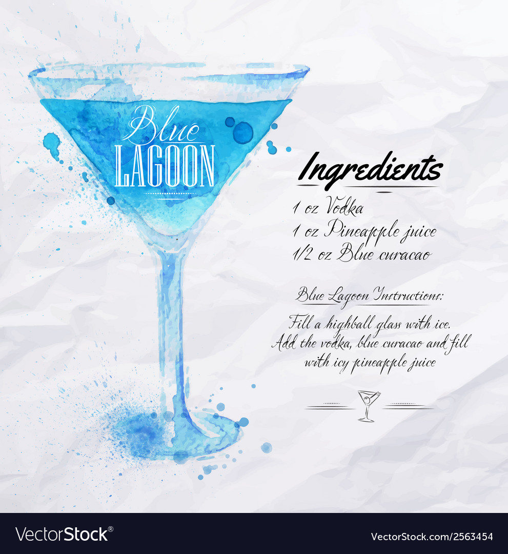 Blue lagoon cocktails watercolor vector | Price: 1 Credit (USD $1)