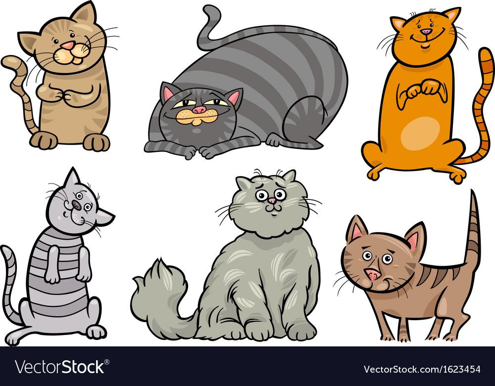 Cute cats set cartoon vector