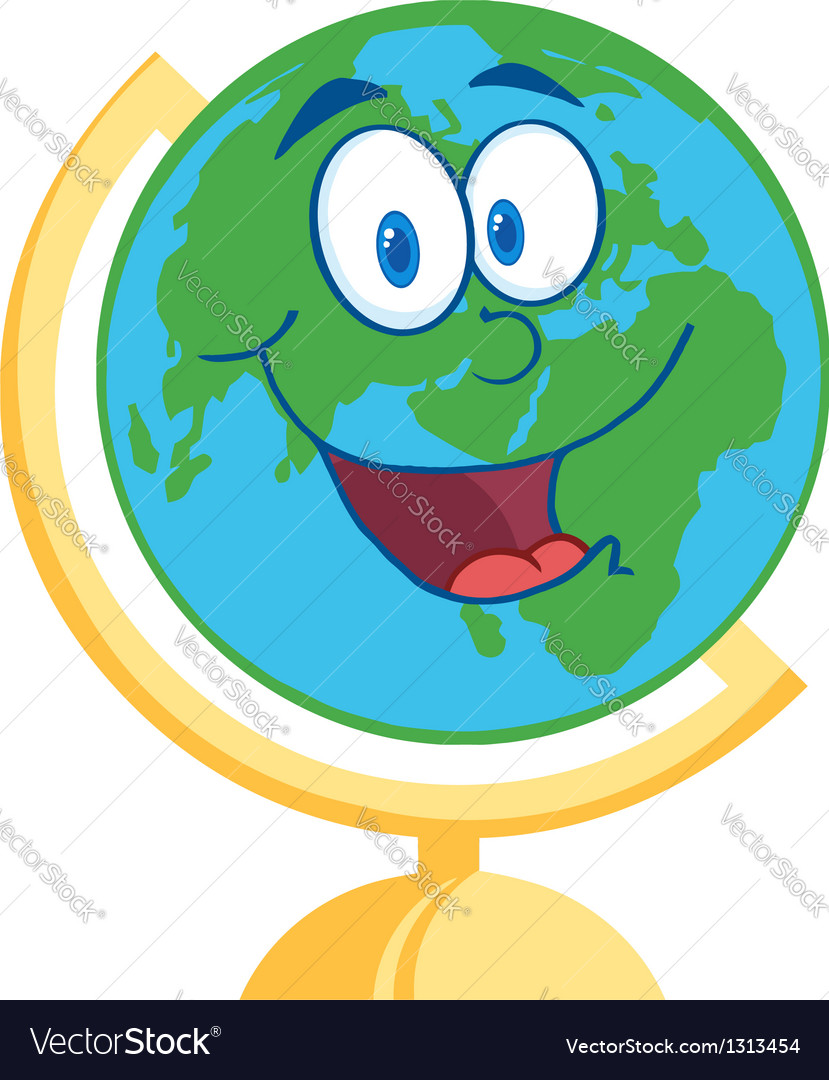 Desk globe cartoon mascot character vector | Price: 1 Credit (USD $1)