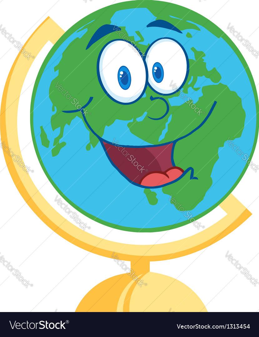 Desk globe cartoon mascot character vector | Price: 1 Credit (USD $1)
