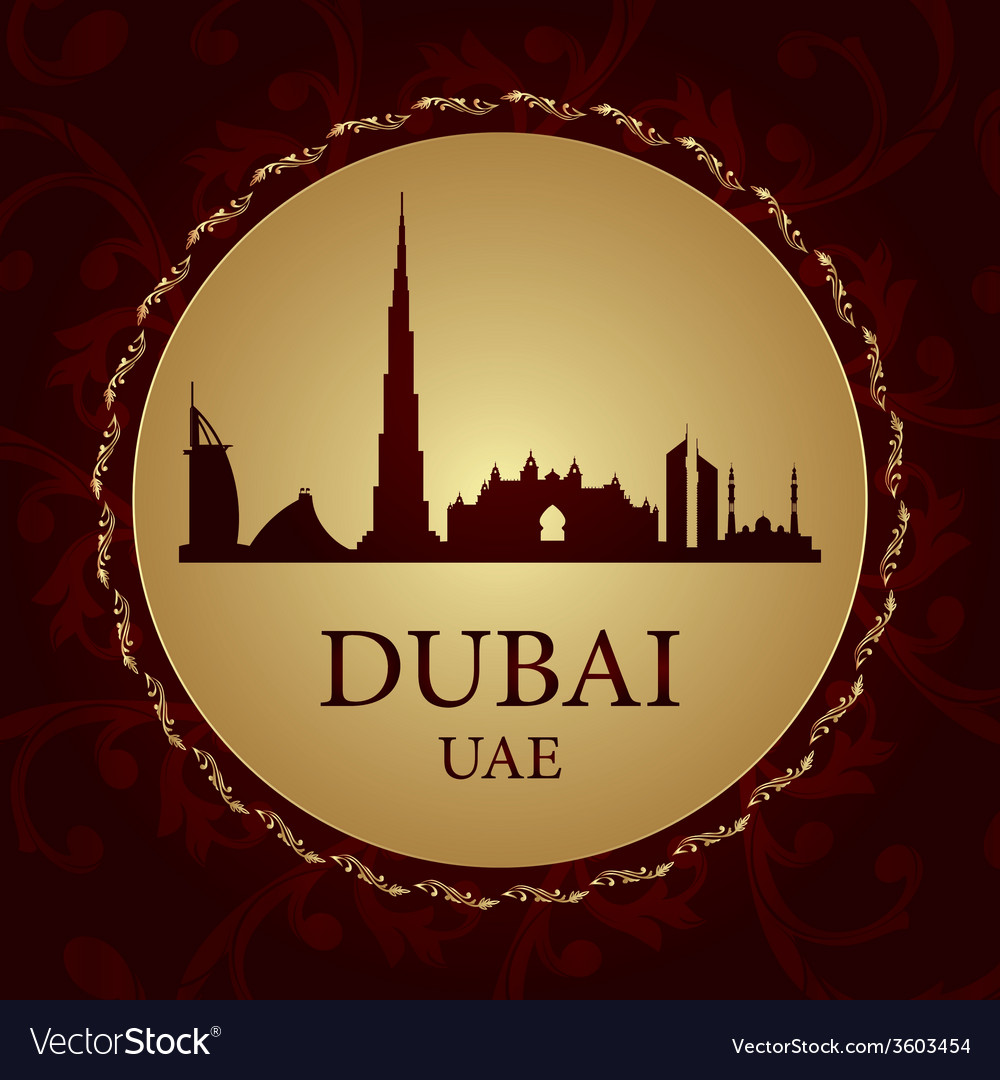Dubai skyline silhouette on vintage background vector   Price: 1 Credit (USD $1)