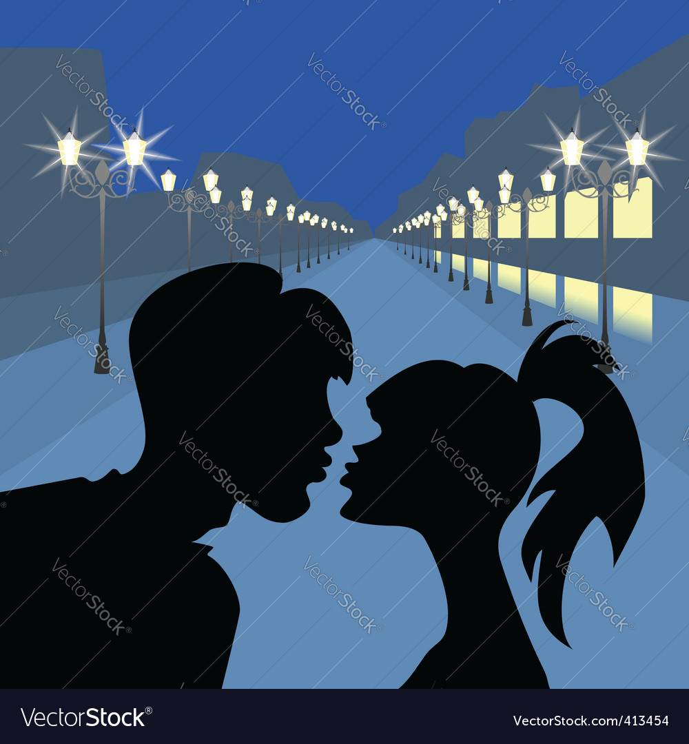 Evening lovers vector | Price: 1 Credit (USD $1)