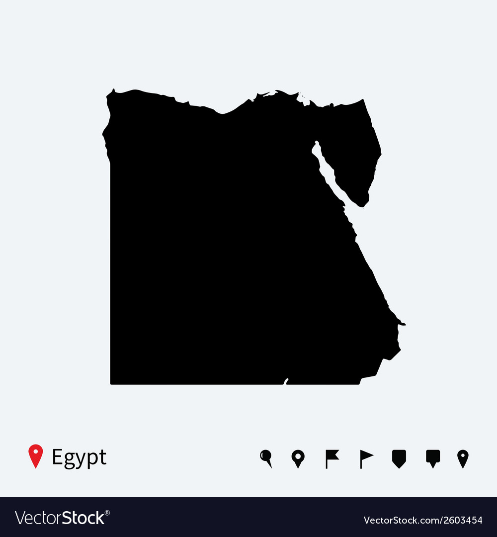 High detailed map of egypt with navigation pins vector | Price: 1 Credit (USD $1)