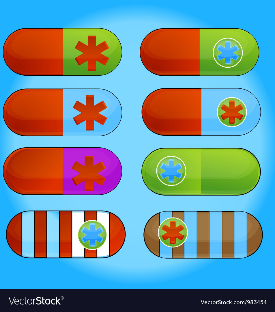 Medic colored pills sign set isolated vector | Price: 1 Credit (USD $1)