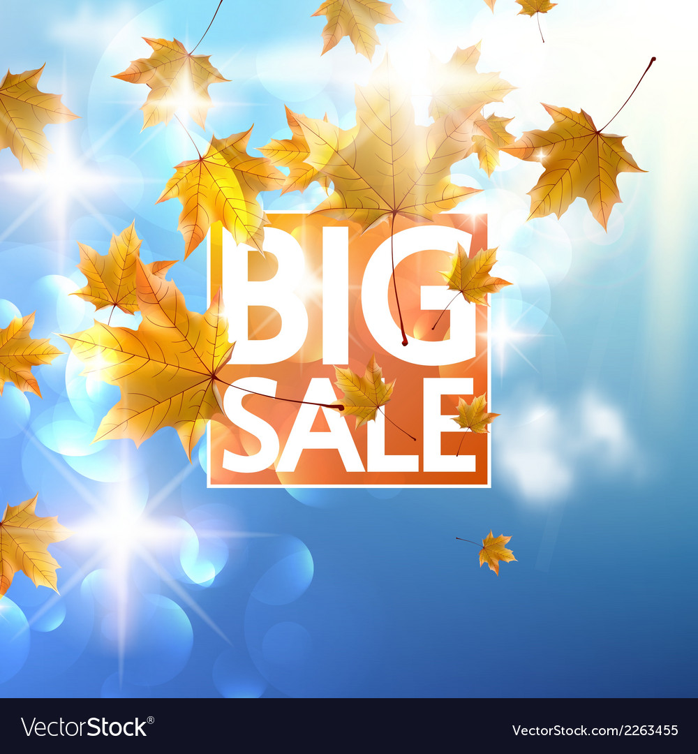 Autumn sale poster with gold maple leaves vector | Price: 1 Credit (USD $1)