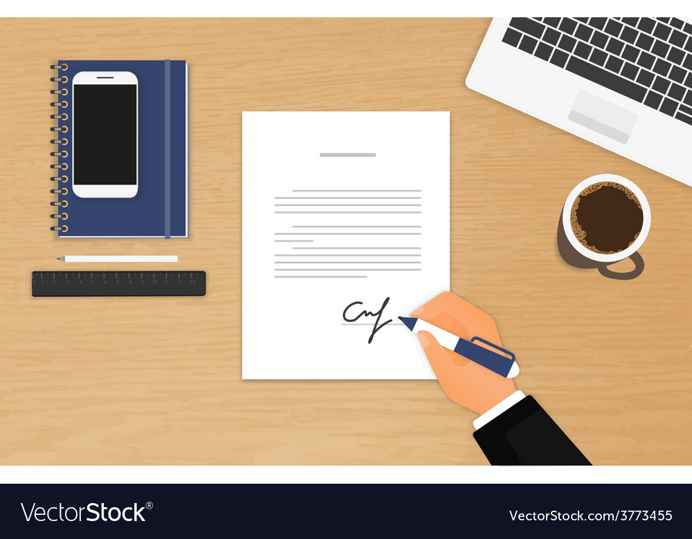 Businessman is signing a contract vector | Price: 1 Credit (USD $1)